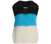 Color-block mohair and wool-blend sweater