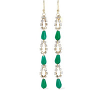 Cervinia Gold-tone, Crystal And Quartz Earrings Emerald Size --