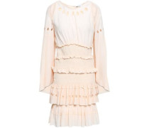 Shirred Eyelet-embellished Crepe Mini Dress Peach