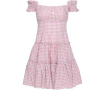 Maria Off-the-shoulder Gingham Cotton-poplin Mini Dress Blush