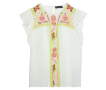 Mimi Embellished Crepe De Chine Top White