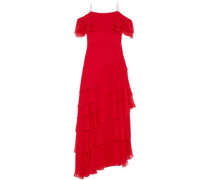 Cold-shoulder Tiered Silk-chiffon Gown Red