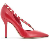 Rockstud Two-tone Leather Pumps Red