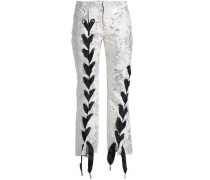 Lace-up Cropped Brocade Bootcut Pants Cream