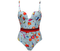 Belted Floral-print Swimsuit Sky Blue Size I C