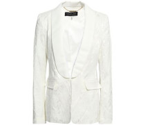 Jaz Faille-trimmed Satin-moire Blazer Ivory Size 12