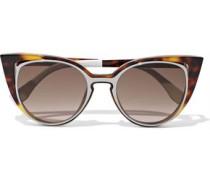 Cat-eye Cutout Acetate Sunglasses Brown Size --
