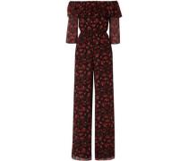 Samura Off-the-shoulder Floral-print Silk-crepon Jumpsuit Black Size 0
