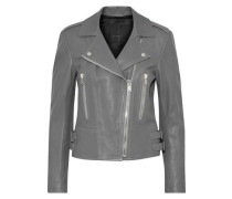 Marving buckle-embellished textured-leather biker jacket