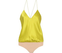 Lewis Silk-charmeuse And Stretch-jersey Bodysuit Chartreuse