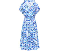 Wrap-effect Printed Cotton Midi Dress Blue