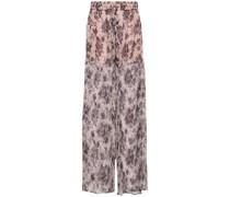 Floral-print Silk-georgette Wide-leg Pants