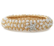 Gold-tone crystal and faux pearl bracelet