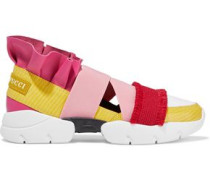 Woman City Up Neoprene-paneled Ruffled Smooth And Lizard-effect Leather Slip-on Sneakers Multicolor