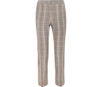 Checked woven tapered pants