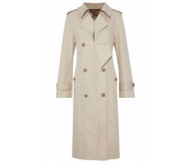Distressed cotton-blend gabardine trench coat