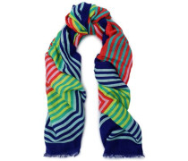 Frayed printed linen-blend scarf