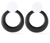 Two-tone enamel clip earrings