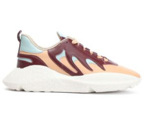 Color-block Leather Sneakers Burgundy