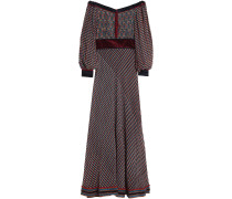 Woman Off-the-shoulder Printed Silk-chiffon Maxi Dress Black