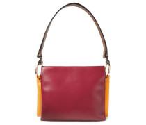 Woman Color-block Leather Shoulder Bag Crimson