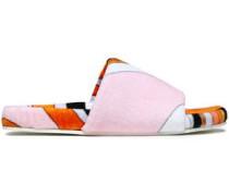 Printed Cotton-terry Slides Orange