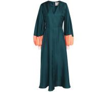 Two-tone silk-twill midi dress