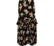 Woman Ruffled Printed Silk-crepe Midi Skirt Black