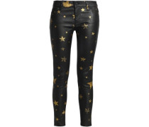 Metallic printed leather skinny pants