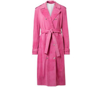 Woman Suede Trench Coat Fuchsia