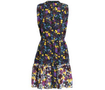 Ruffled belted floral-print silk crepe de chine mini dress