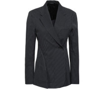 Double-breasted Pinstriped Cotton-blend Blazer Navy