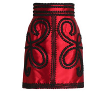 Appliquéd silk-blend satin-twill mini skirt