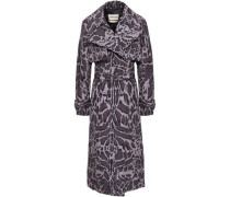 Belted Leopard-print Shell Trench Coat Animal Print
