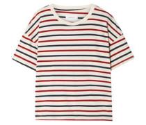 Woman Striped Cotton-jersey T-shirt Ivory