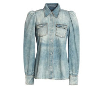 Faded cotton-chambray blouse