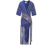Fringed Embellished Jacquard-knit Wrap Top Cobalt Blue
