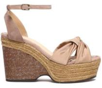 Twist-front Satin Platform Sandals Beige