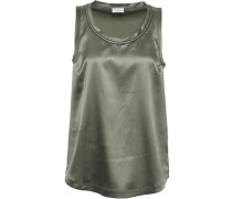 Bead-embellished Silk-blend Satin Top Grey Green