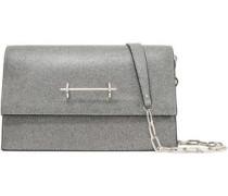 Glittered Leather Shoulder Bag Silver Size --