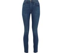 Faded Mid-rise Skinny Jeans Dark Denim  4