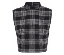 Garland Cropped Checked Bouclé-tweed Top Black