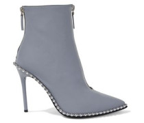Eri Studded Iridescent Shell Ankle Boots Gray