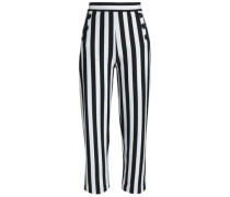 Striped jersey straight-leg pants