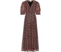 Woman Nikki Ruched Printed Georgette Maxi Dress Brick