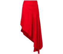 Woman Asymmetric Satin Midi Skirt Red