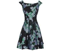 Flared Floral-jacquard Mini Dress Black
