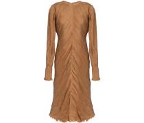 Frayed plissé silk dress