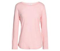 Appliquéd slub linen-jersey top