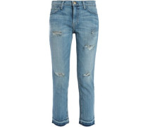 Cropped Distressed Mid-rise Straight-leg Jeans Mid Denim  8